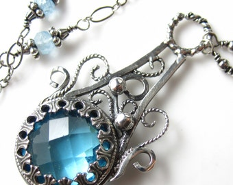 Swiss Blue Glass Necklace - Sterling silver and Swiss Blue Topaz