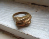 FREE SHIPPING Vintage Brass Ring Modern Industrial Style Size 10