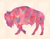 Matted Heart Buffalo Print - Buffalo Art - 5x7 print in 8x10 mat - Buffalo NY - Buffalo Gift - Buffalove - Buffalo NY - American Bison