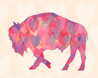 Valentine's Day Buffalo - Buffalo Art - Heart Buffalo Art Print -  Buffalo Print - Buffalo NY - Buffalove - Buffalo Gift