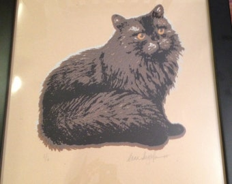 """Hand silkscreened print of a brown, fluffy cat, framed. 18-3/4"""" W x 22-3/4"""" H. **NEW LOWER PRICE!**"""
