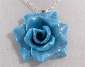 Turquoise Rose Necklace - Turquoise Blue Rose Pendant - Handmade Polymer Clay Rose - Rose Pendant - Ready to Ship - #77 Ready to Ship