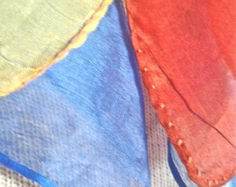 Rainbow Silks - two vintage 1940's hand-rolled scarves