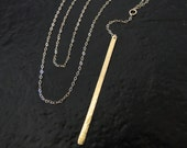 Gold Bar Necklace, Vertical Bar Lariat Necklace, Y Necklace, Stick Necklace, 14K Yellow, White, or Rose Gold - Cameron Diaz Style