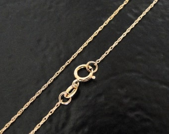 14K Solid Yellow Gold 16 Inch Rope Chain, Finished Chain With Clasp