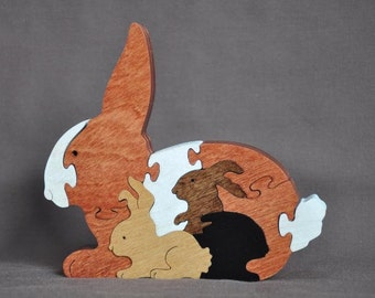 Bunny with Babies Easter Animal Puzzle  Wooden Toy Hand  Cut with Scroll Saw