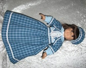 SALE!!!   Blue and White Plaid Jumper, Blouse, Hat and Bolero for American Girl Doll