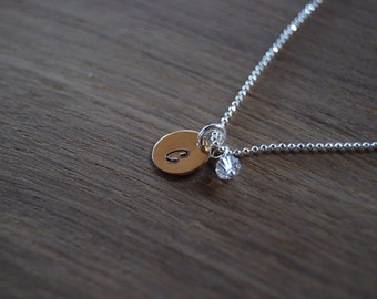 Gold initial necklace with birthstone