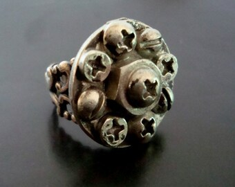 Steampunk Ring, Industrial Findings, Screws, Silver Ox USA Metals, Adjustable Ring Base