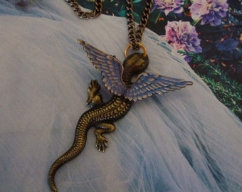 Dragon Wings Necklace, Dragon Has Iridescent Wings, Metal Bonded Not Glued. Year Of The Dragon, Most Powerful