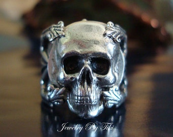 Gothic Jewelry, Human Skull Ring, Quality Sterling Silver Finish, Adjustable, Metal Bonded NOT GLUED, Vintage Ox