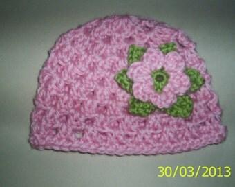 Baby Crochet Hat girl Pink with Flower  newborn beanie 0 - 3 months