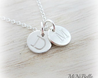 Two Initial Charms. Personalized Initial Necklace. Monogram Necklace. Handstamp Letter. Mom Necklace. Mother Necklace