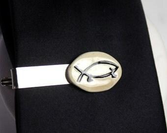 Happy Atheist Ceramic Tie Clip in Mocha
