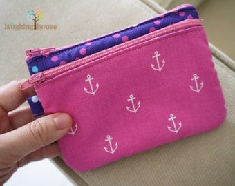 Double Zip Mini Purse (Anchors in Raspberry & Zigzag Dots in Purple)
