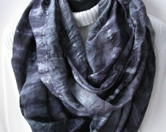 Mens Scarf- Hand Dyed Silk Infinity  Scarf - womens scarf - mens gift ideas Black Scarf grey scarf circle scarf Unisex Scarf Mens Scarves