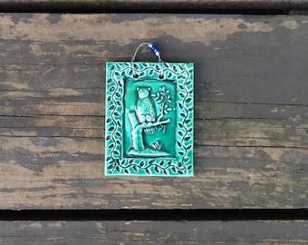 Mini Hooter Owl Tile in Dark Green