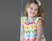 Pastel Rainbow Chevron Simply Cute Dress- Children- Girls-Birthday Dress- Chevron