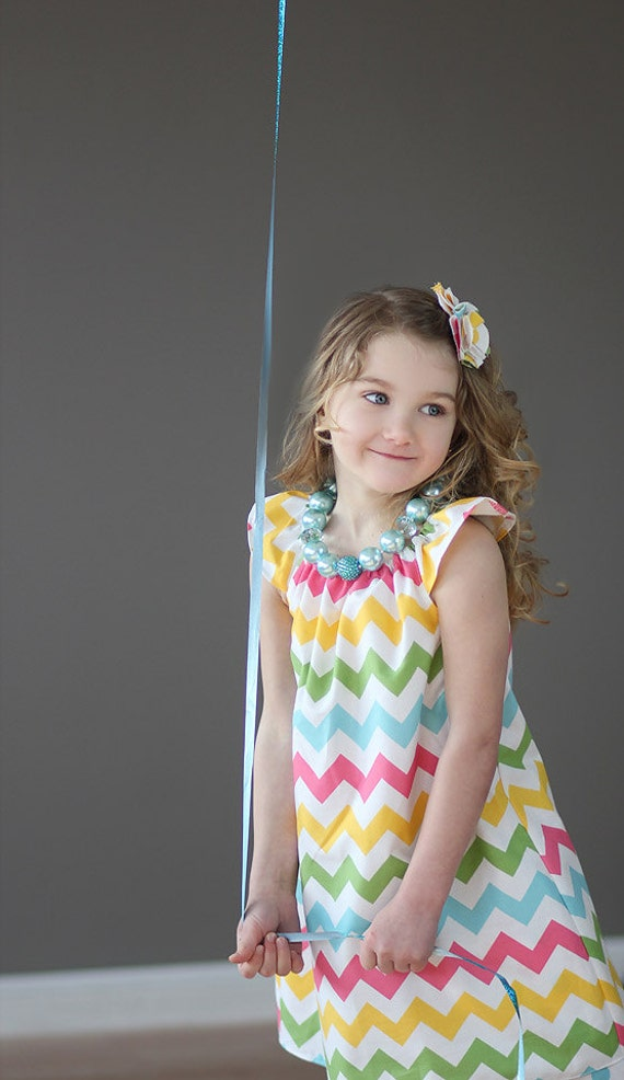 Pastel Rainbow Chevron Simply Cute Dress- Children- Girls-Birthday Dress- Chevron