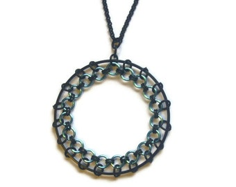Black and Blue Spirograph Necklace