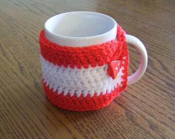 Hand Crochet White and Red Coffee Mug Cozy