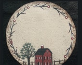 6 Inch Red House Version 3 and Red Twig Vine Round Handpainted Canvas Candle Mat Primitive Folk Art Country Decor