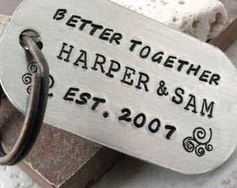 Better Together Keychain for couples, rounded aluminum dog tag, antique copper split ring, great valentine gift