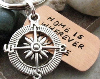 Home is Wherever You Are Keychain with silver compass charm and split ring, compass keychain, optional personalized initial disc