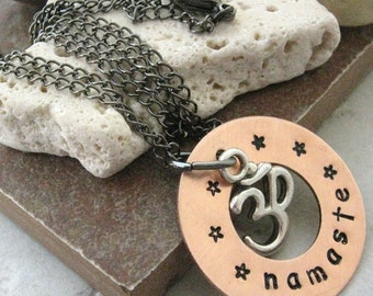 OM Necklace, hand stamped copper washer reading namaste, silver OM charm, please read listing, meditation, exercise, yoga, fitness