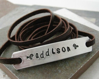 Personalized Wrap Bracelet, choose leather and metal type, great mothers day or fathers day gift, great for men or women
