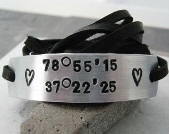 Coordinate Bracelet, GPS bracelet, Latitude Bracelet, Longitude Bracelet, choose leather color, anniversary gift, 30 character limit