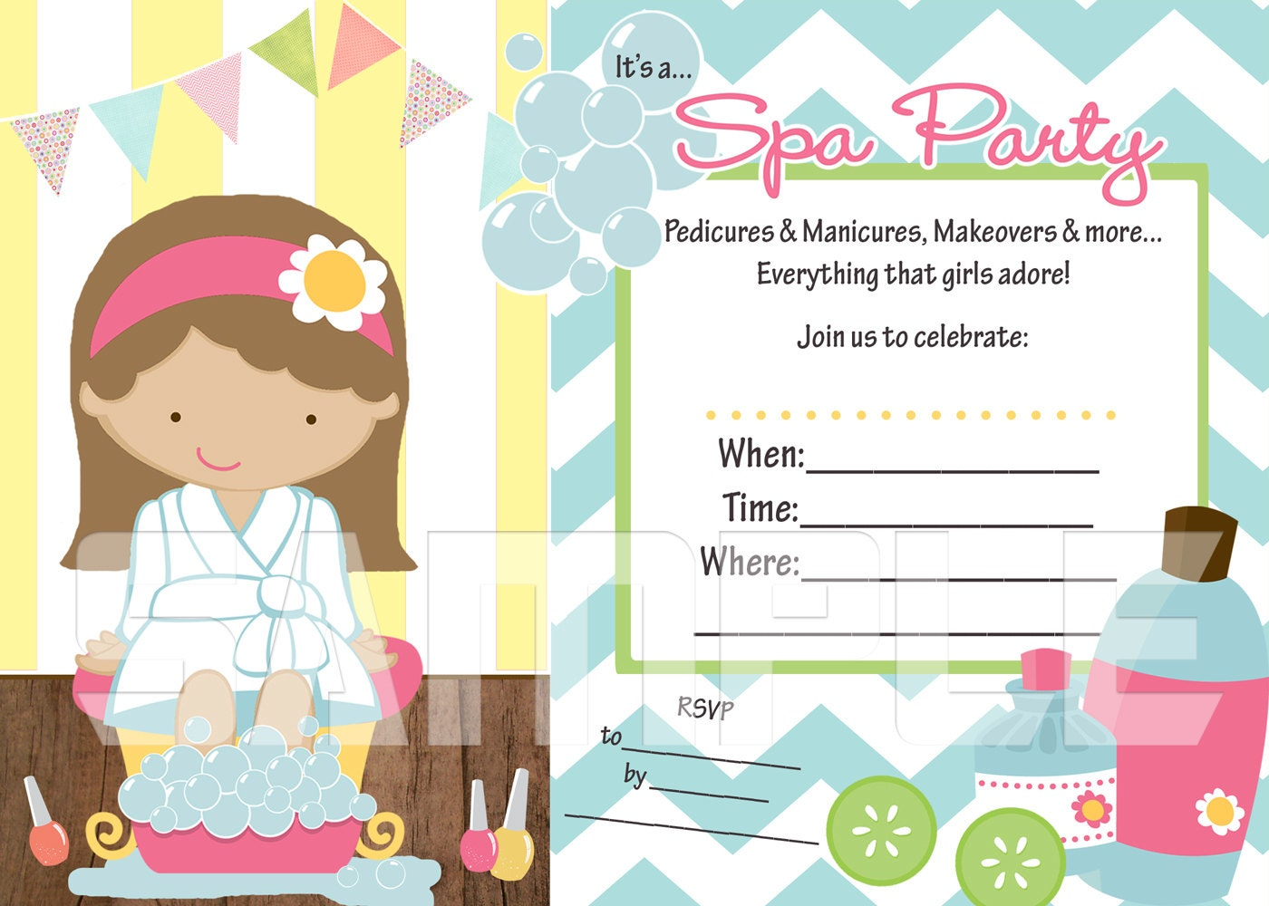 Fill in the Blank Spa Party Printable Invitation by lilbeansprout