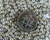 Tiny Sterling Silver Round Beads. 2.22 mm w .041 hole opening. 50 pieces.