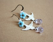 Sea Dove Earrings - white and blue bird drop earrings, shabby chic inspired jewelry