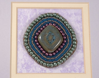 Morpheus // Beaded Painting // Mixed Media Art // Bead Embroidery // Seed Beads // Glass Pearls // Porcelain Bead // Purple, Green, Blue