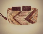 Reserved for Bonnie. Chevron loom beaded cuff, in chocolate, peach and pink
