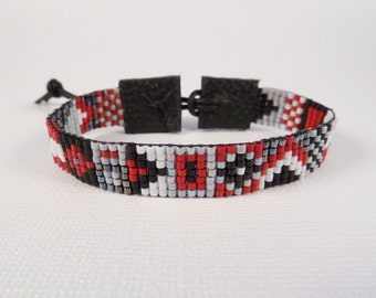 Geometric beaded skinny cuff, tribal, hand loomed, red, black, gray, gunmetal
