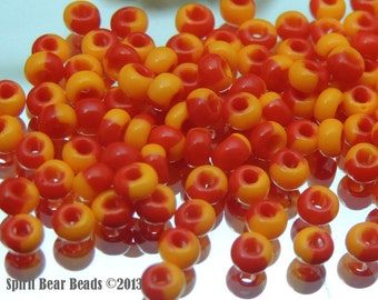 Orange and Red Harlequin Czech Glass Beads 25g size 6/0 4mm