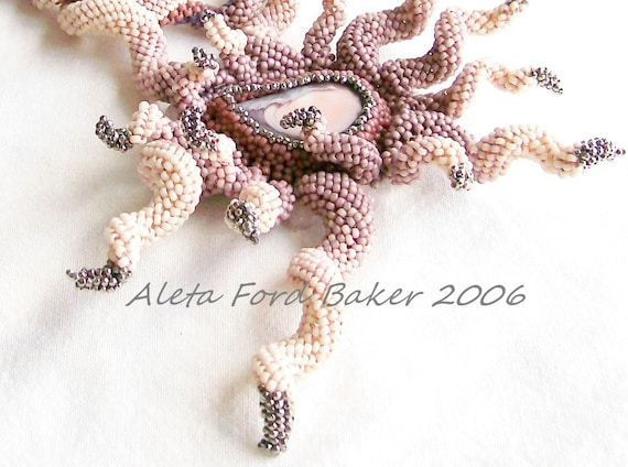 Statement Necklace Beaded Art 'Spiral Frenzy' Beadweaving Indespiral 'Shades of Pink' Neckpiece