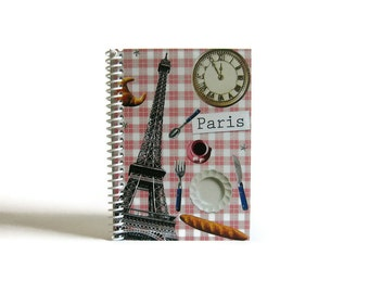 Pink Gingham Paris Travel Journal, Pocket, Spiral Bound, Gifts Under 15, Paris Journal, Blank Sketchbook, Diary Writing Journal, A6 Notebook