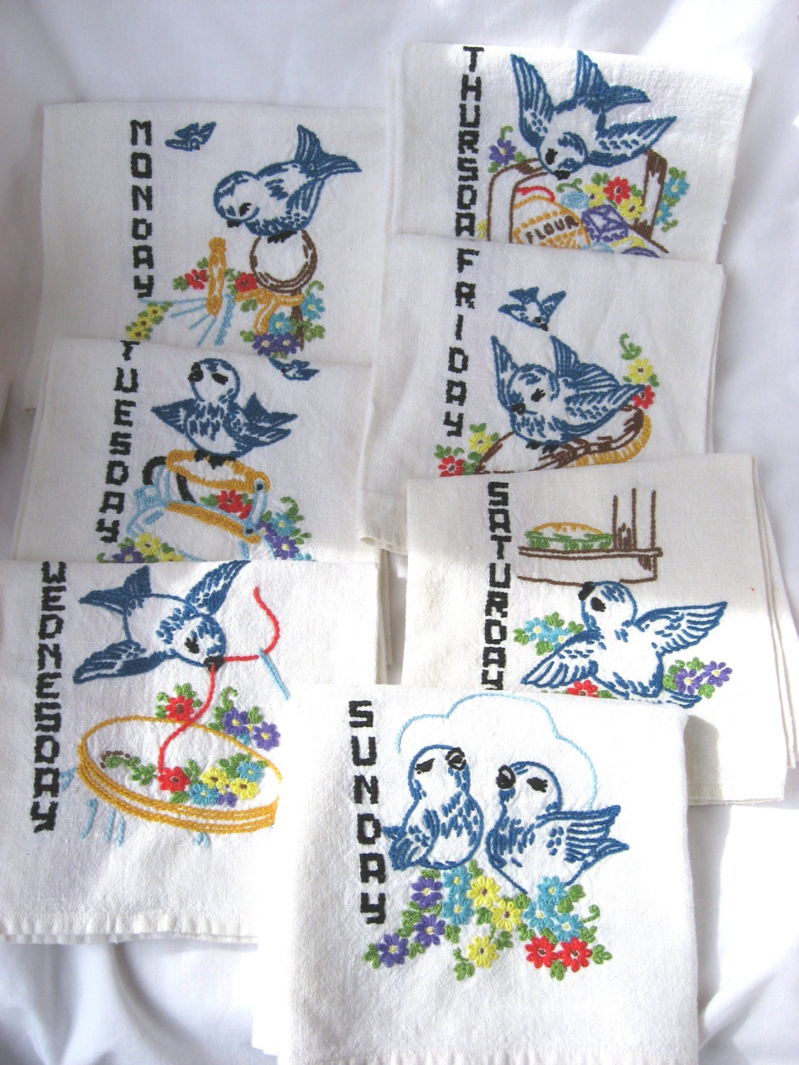 7 Blue Bird Vintage Hand Embroidery Linen Tea Towels Days Of