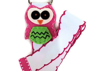 Hair Bow and Clip Holder - Simple - FELT OWL - Hot Pink, White and Green - cute Owl hair bow holder