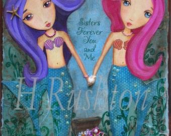 Mermaid Print - Mermaid Art -Children Decor- Sisters Art Print- Mermaid Decor- Print Size 8x10