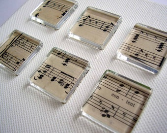 Made to order / 6 Mini Music Glass Tile Magnets Super Strong