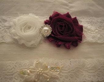 Handmade Garter Set, Handmade Burgundy and White Vintage Garter Set, Garter Set with Rhinestone and Pearl Accents