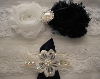 Handmade Garter Set,Navy Blue and White Wedding Garter Set,Handmade Lace Garter,Bridal and Toss Garter, Rhinestone and Pearl Accent