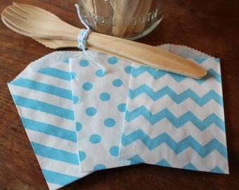 Blue Paper Bags -- Aqua Favor Bags, Flat Goody, Turquoise Gift, Merchandise, Craft -- set of 12 -- 2.75 X 4 - dots, stripes, chevron