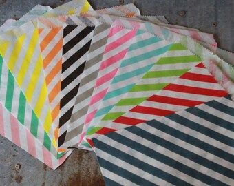 Stripe Favor Bags --5x7 - set of 12 bags --  -- Choose colors and patterns