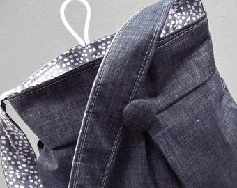 Black Grey Diaper Bag - Reverisble - 6 pockets - 24 inch straps