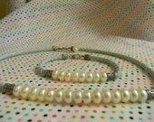 Cultured Pearls, Braided leather Choker & bracelet set